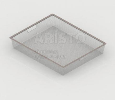 Корзина мелкосетчатая на 1 рельс, 450х427х85, металлик