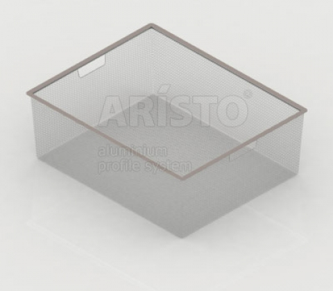 Корзина мелкосетчатая на 2 рельса, 450х427х185, металлик
