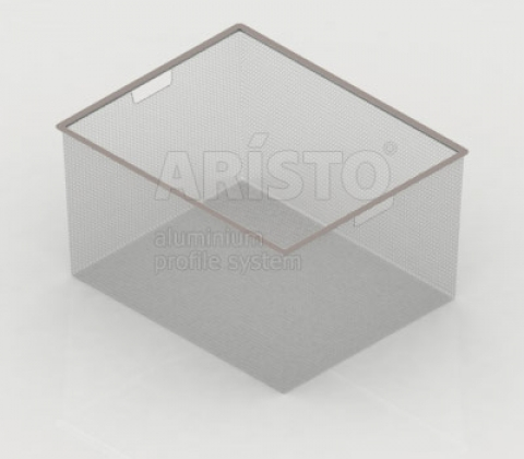 Корзина мелкосетчатая на 3 рельса, 450х427х285, металлик